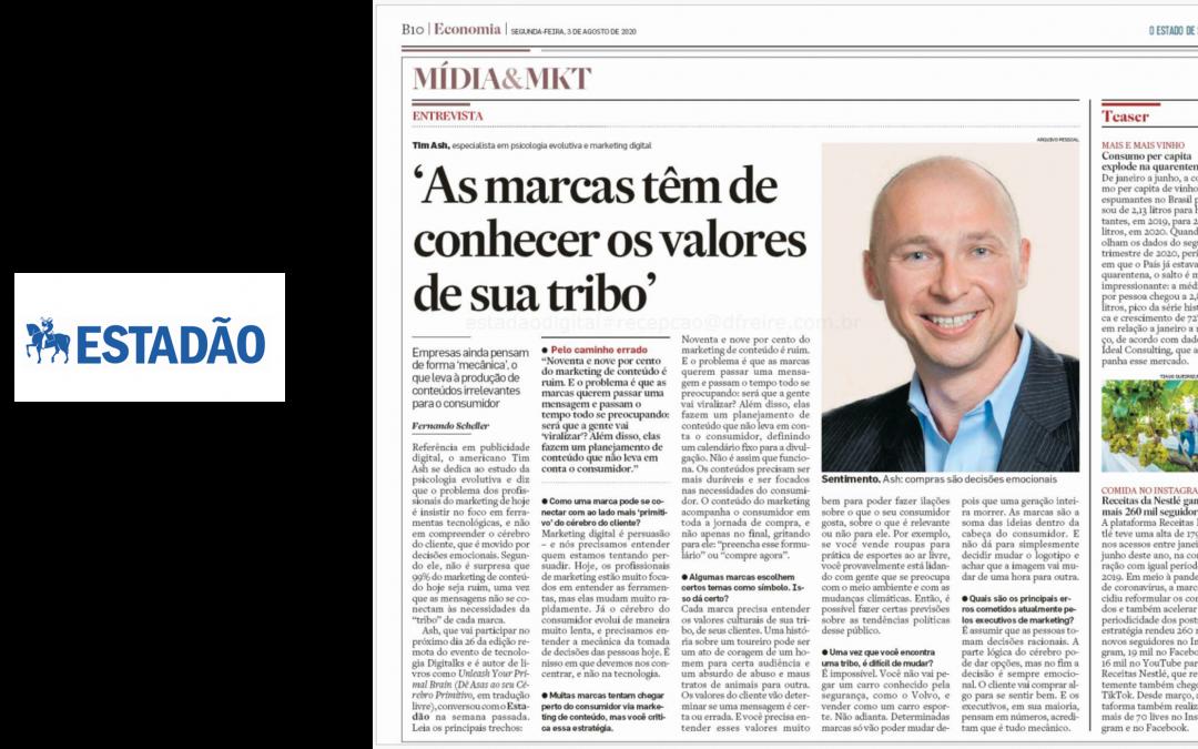Tim featured in top Brazilan paper – Estadão