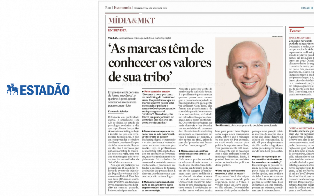 Tim featured in top Brazilan paper – Estadão